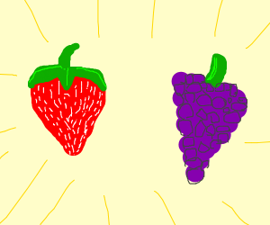 strawberry and grape floating