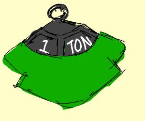 1 ton weight wearing a t-shirt