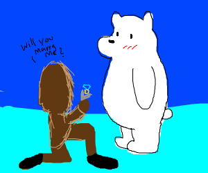 Eskimo proposing to a polar bear