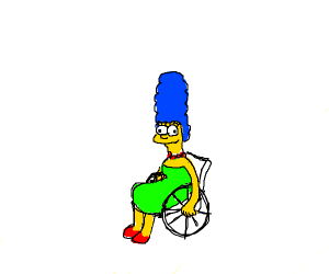 Marge in a wheelchair
