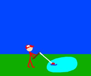 Mario fishing at a pond