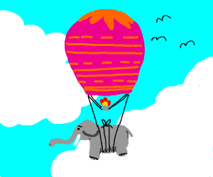 elephant tied to hot air balloon