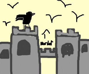 A crow on a castle