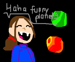 girl with sharp teeth laughs about planets