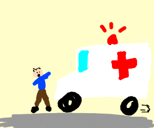 an ambulance is about to run someone over