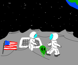 Step 3: Play moon-soccer with the alien head.