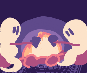 Ghosts roasting ice cream over fire at camp