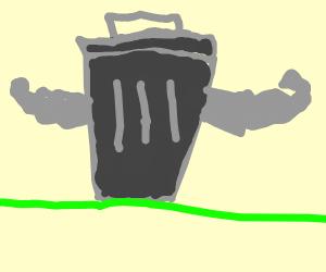 a buff trash can