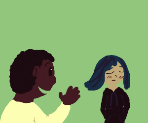 Kind guy saying hi to a shy blue haired girl