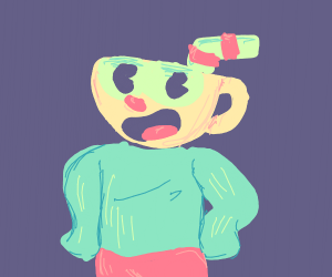 Cuphead in a sweater