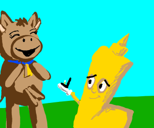 Mustard bottle is proposing to cow!
