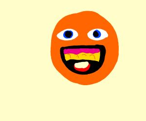 Happy orange eats popsicle
