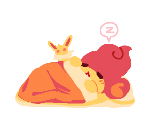 Jolteon watches Pansear(?) sleeping
