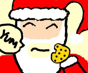 Santa eating a chocolate chip cookie