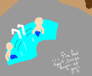 Dudes in a pool