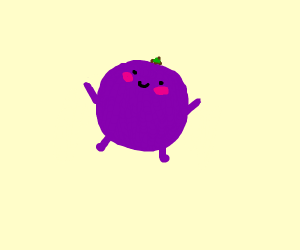 grape with hands and legs