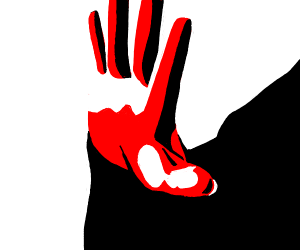 Red hand waves