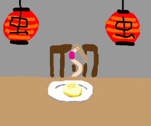 little worm eatin some dumplings