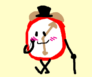 Alarm Clock wearing a Top Hat