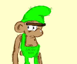 brown, green clothed smurf called smork