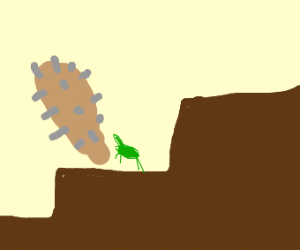 grasshopper on stairs with spiked bat