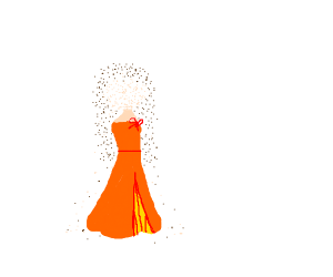 girl in orange dress getting turned to dust