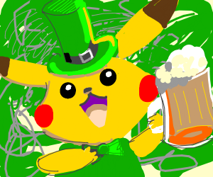 Pikachew celebrats st. patriks day