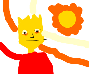 The sun is exploding Bart Simpson's eyes