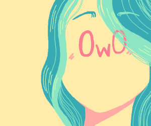 Blue haired OwO person