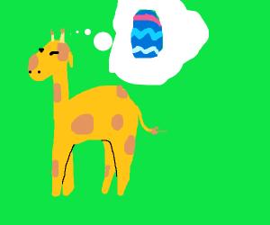 Giraffe thinks about Easter eggs