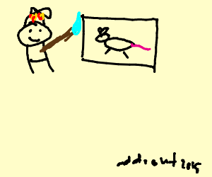 the Odd1sout painting a pitcure of a mouse