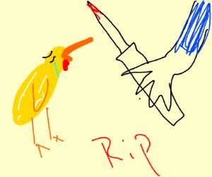 Chicken accepting death