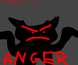 Angry cat w/dent in forehead