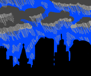 Rainy city silhouette