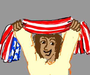 Man saying america with american flag
