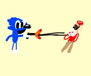 sonic shoots mario