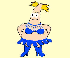 Patrick star with hey Arnold hair in drag