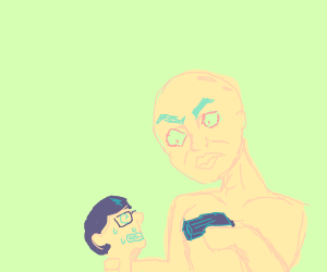 bald man holds nerd at gunpoint