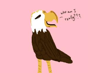 """a bird (eagle?) thinking """"who am i?"""""""