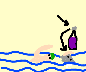 Swimming with a Bottle Cap