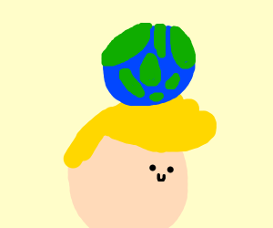 Jazza balancing Earth on his head