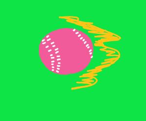 Pink Baseball Going Fast