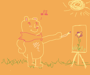 bear painting a picture of a flower