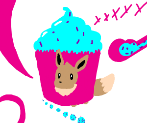 Eevee in a cupcake costume