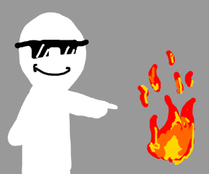 Chill Guy with cool glasses pointing at fire