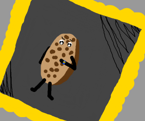 painting of a cookie looking at his watch