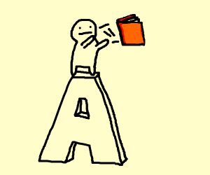 man standing on the letter a throws book
