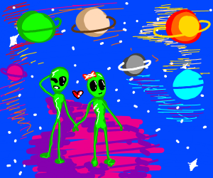 two aliens going on a date