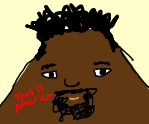 Donald Glover as a volcano