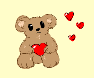 happy teddy bear offers a little love for you